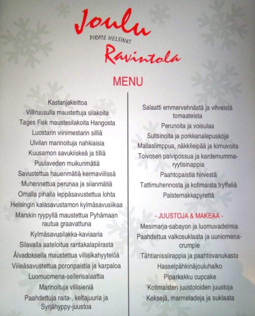 Pirate Christmas menu - reijosfood.com