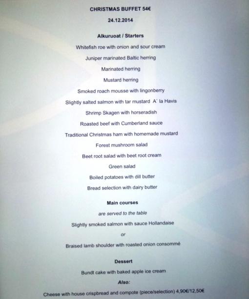 Havis Christmas Eve buffet menu - reijosfood.com