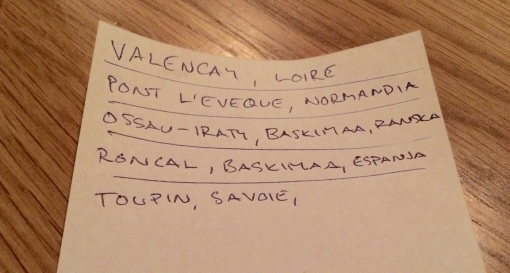 Cheese list at Copas y Tapas - reijosfood.com